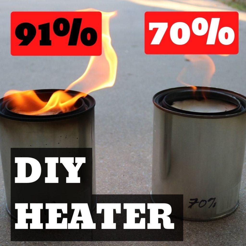 DIY Emergency Heater – 70% or 91% Isopropyl Alcohol?